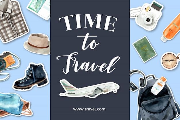 Tijd om te reizen. toerisme ontwerp met vliegtuig, camera, rugzak, hoofdtelefoon