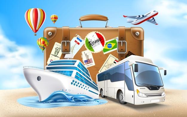Tijd om te reizen. vintage reistas koffer op zand cruiseschip toeristenbus