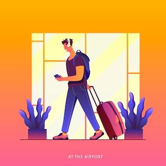 Tijd om te reizen. zomervakantie. een treveller op een luchthaven. rond de wereld.