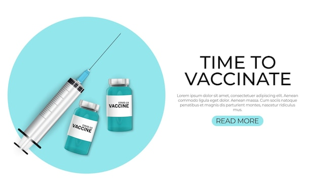 Tijd om te vaccineren concept. coronavirus vaccinatie concept.