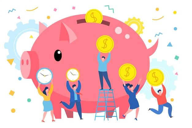 Tijd op geld wisselen conceptuele afbeelding. mini mensen bedrijfsconcept