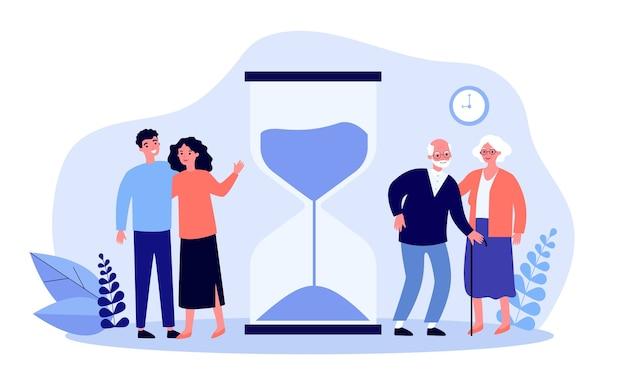 Tijd van jonge en oudere mensen