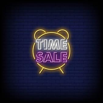 Tijd verkoop neonreclames stijl tekst
