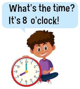 Tijd vertellen met een jongen die een klok vasthoudt