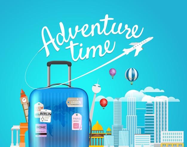 Tijd voor avontuur. reisillustratie met de handtas