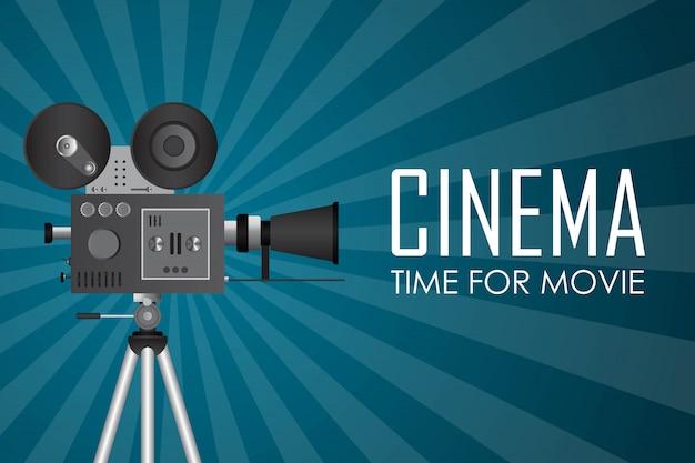 Tijd voor filmposterillustratie. uitnodiging voor film
