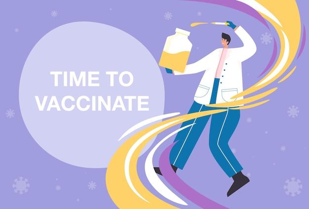 Tijd voor het vaccinatieconcept van het coronavirus. het coronavirus (covid-19) vaccin is effectief genoeg om de verspreiding van het virus te voorkomen.