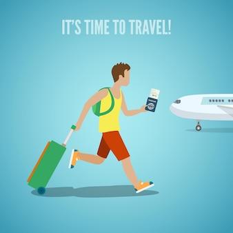 Tijd voor reisbureau website vakantie toerisme illustratie. man met kaartje in de hand rugzak en koffer bagage die op vliegtuig loopt. mensen bezoeken de oriëntatiepunten van landensteden.