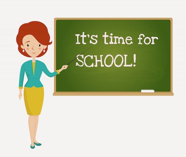 Tijd voor schoolkaart met leraar.