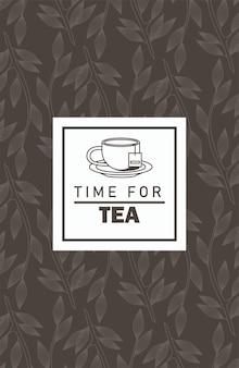 Tijd voor thee belettering poster met theekopje in vierkante frame