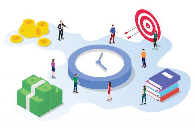 Tijdbeheer besparingsconcept met teammensen die isometrische 3d samenwerken