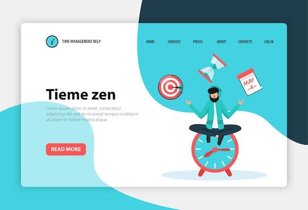 Tijdbeheer concept platte web bestemmingspagina sjabloon met werknemer in yoga pose op klok Premium Vector