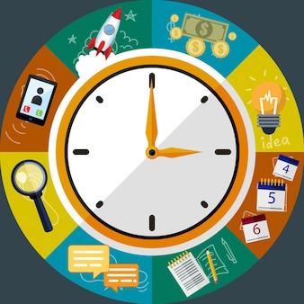 Tijdbeheer creatieve vlakke stijl concept vectorillustratie, klok, werkplanning, ideeën, geld, zoeken, voor covers en posters