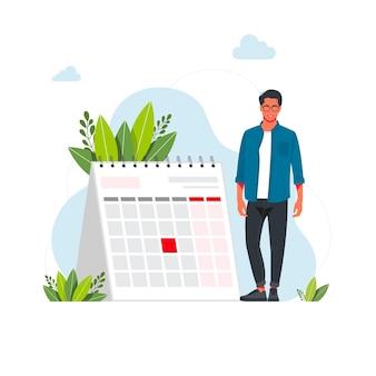 Tijdbeheer en deadline concept. zakenman planning evenementen, deadlines en agenda. kalender, planning, organisatie proces platte vectorillustratie. tijdbeheerconcept voor banner
