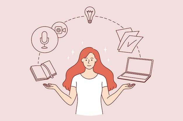 Tijdbeheer en innovatieconcept. jonge lachende vrouw stripfiguur permanent met boek notebook laptop en gloeilamp rondvliegen vectorillustratie