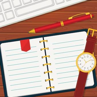 Tijdbeheer met notebook.