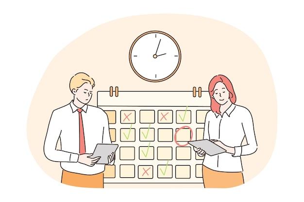 Tijdbeheer, multitasking, efficiëntie, plan, teamwerk, bedrijfsconcept.
