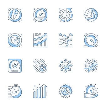 Tijdbeheer, optimalisatie en productiviteit lineaire vector iconen set.