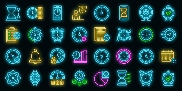 Tijdbeheer pictogrammen instellen vector neon