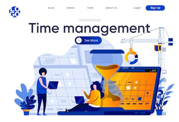 Tijdbeheer platte bestemmingspagina. werknemers die hun werkzaamheden en taken plannen met kalenderillustratie. tijdbeheer en efficiëntie webpagina-samenstelling met personages.