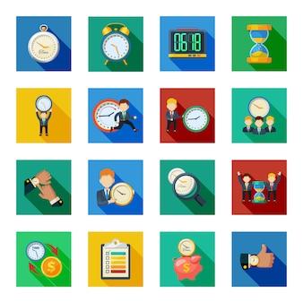 Tijdbeheer platte schaduw icons set