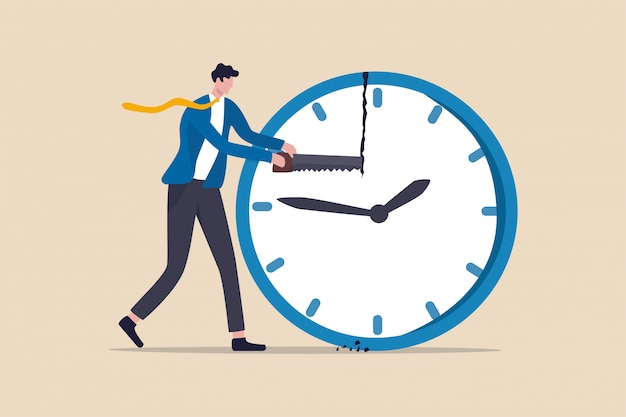 Tijdbeheer, tijdlijn voor werk en privéleven of projectbeheerconcept, zakenmanmanager of kantoormedewerker met zaag om de klok te breken om de tijd voor de deadline van projecten te beheren.