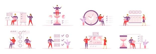Tijdbeheer, verdeling van prioriteit van taken illustraties set