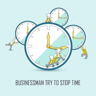 Tijdbeheerconcept: zakenlieden die de tijd in lijnstijl proberen te stoppen