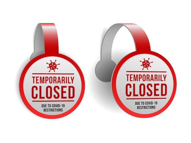 Tijdelijk gesloten teken van coronavirusnieuws. set van informatie waarschuwingsbord over quarantaine