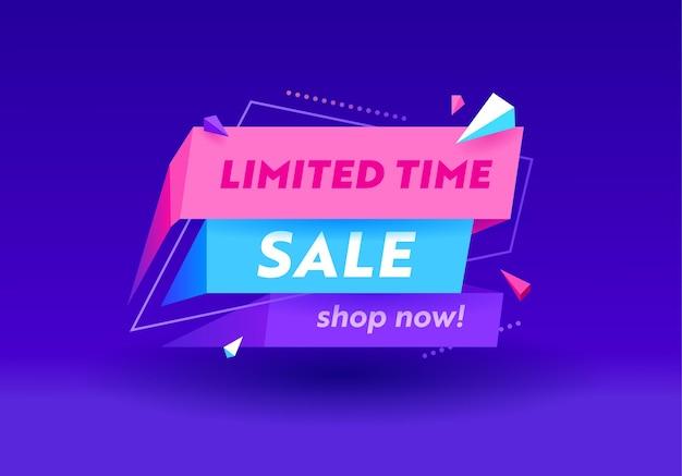 Tijdelijke verkoopbanner in funky stijl voor reclame voor digitale mediamarketing. shop nu hot aanbieding, winkelen of korting. kleurrijk geometrisch patroon, minimaal ontwerp, typografie. vectorillustratie