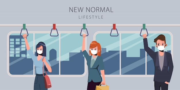 Tijdens covid19 maken mensen een sociale afstand bij sky train. nieuwe normale levensstijl dagelijks.
