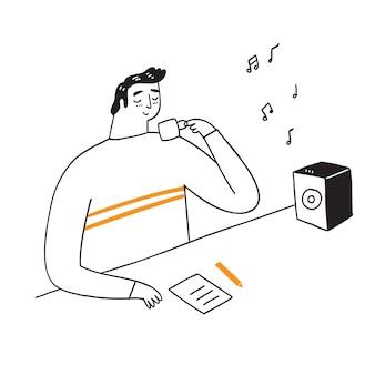 Tijdens de koffie zit een jonge man te denken aan zijn werk. geniet van de muziek, cartoon handgetekende vectorillustratie