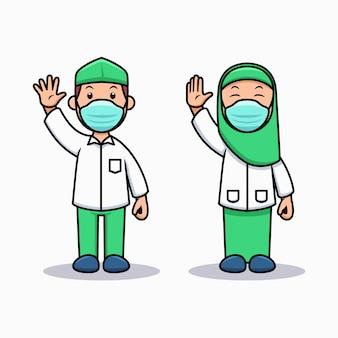 Tijdens pandemic moslem kids dragen gezichtsmaskers om terug naar school te gaan