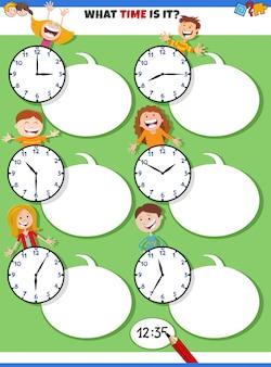Tijdige educatieve taak vertellen met gelukkige kinderen