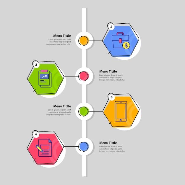 Tijdlijn 4 stappen infographic sjabloonontwerp Premium Vector