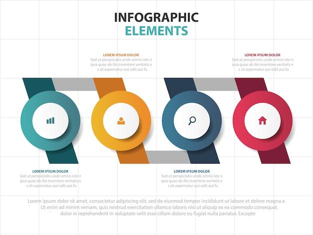 Tijdlijn business infographics sjabloon elementen