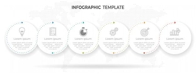 Tijdlijn cirkel infographic sjabloonopties of stappen.