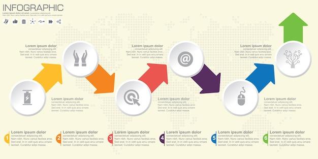 Tijdlijn en pijl infographic met pictogram en opties.