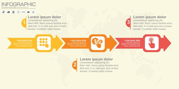 Tijdlijn en pijl infographic. wereld kaart achtergrond