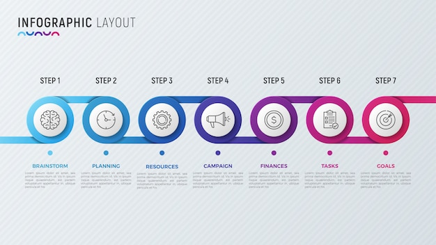 Tijdlijn grafiek infographic ontwerp voor datavisualisatie.