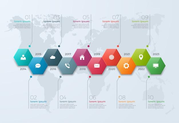 Tijdlijn grafiek infographic sjabloon met 10 opties