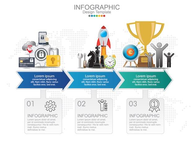 Tijdlijn grafiek infographic sjabloon met 3 pijlen.
