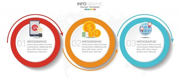 Tijdlijn grafiek infographic sjabloon met 3 stappen of opties.