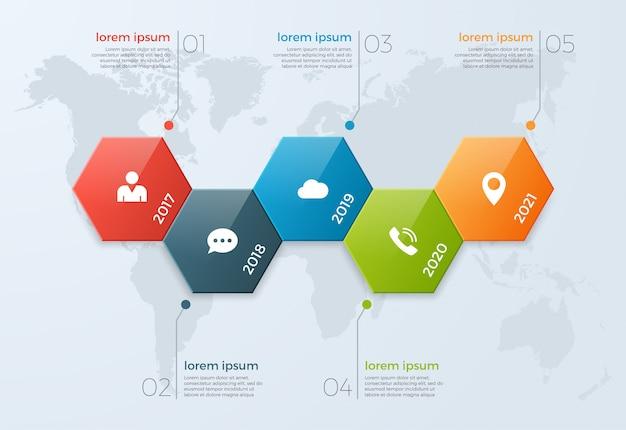Tijdlijn grafiek infographic sjabloon met 5 opties