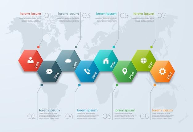 Tijdlijn grafiek infographic sjabloon met 8 opties