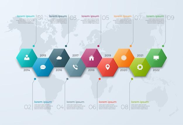 Tijdlijn grafiek infographic sjabloon met 9 opties