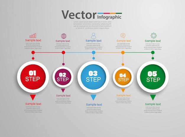 Tijdlijn grafiek infographic sjabloon met opties