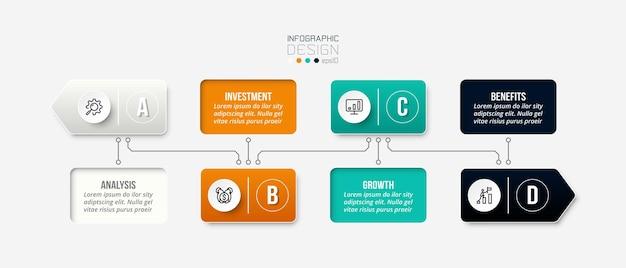 Tijdlijn grafieksjabloon zakelijke infographic