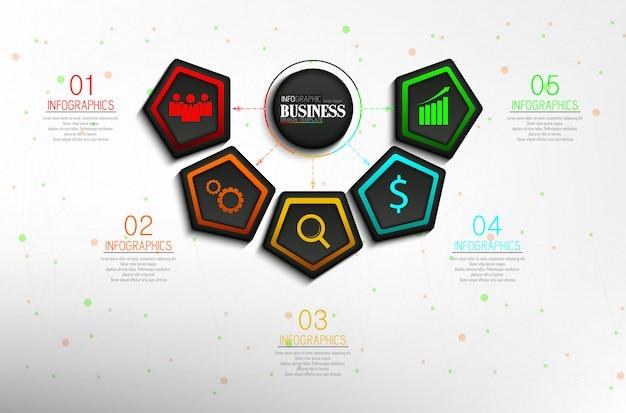 Tijdlijn info grafische gegevens visualisatie ontwerpsjabloon