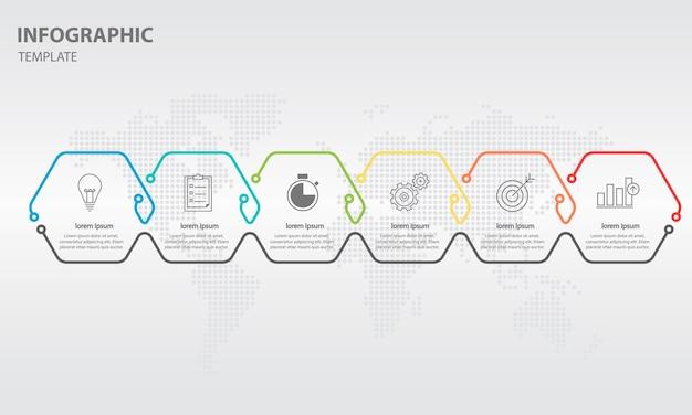 Tijdlijn infographic 6 opties